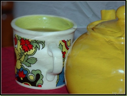 yellow teapot and hippie mug