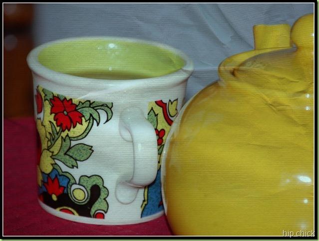 yellow teapot and hippie mug